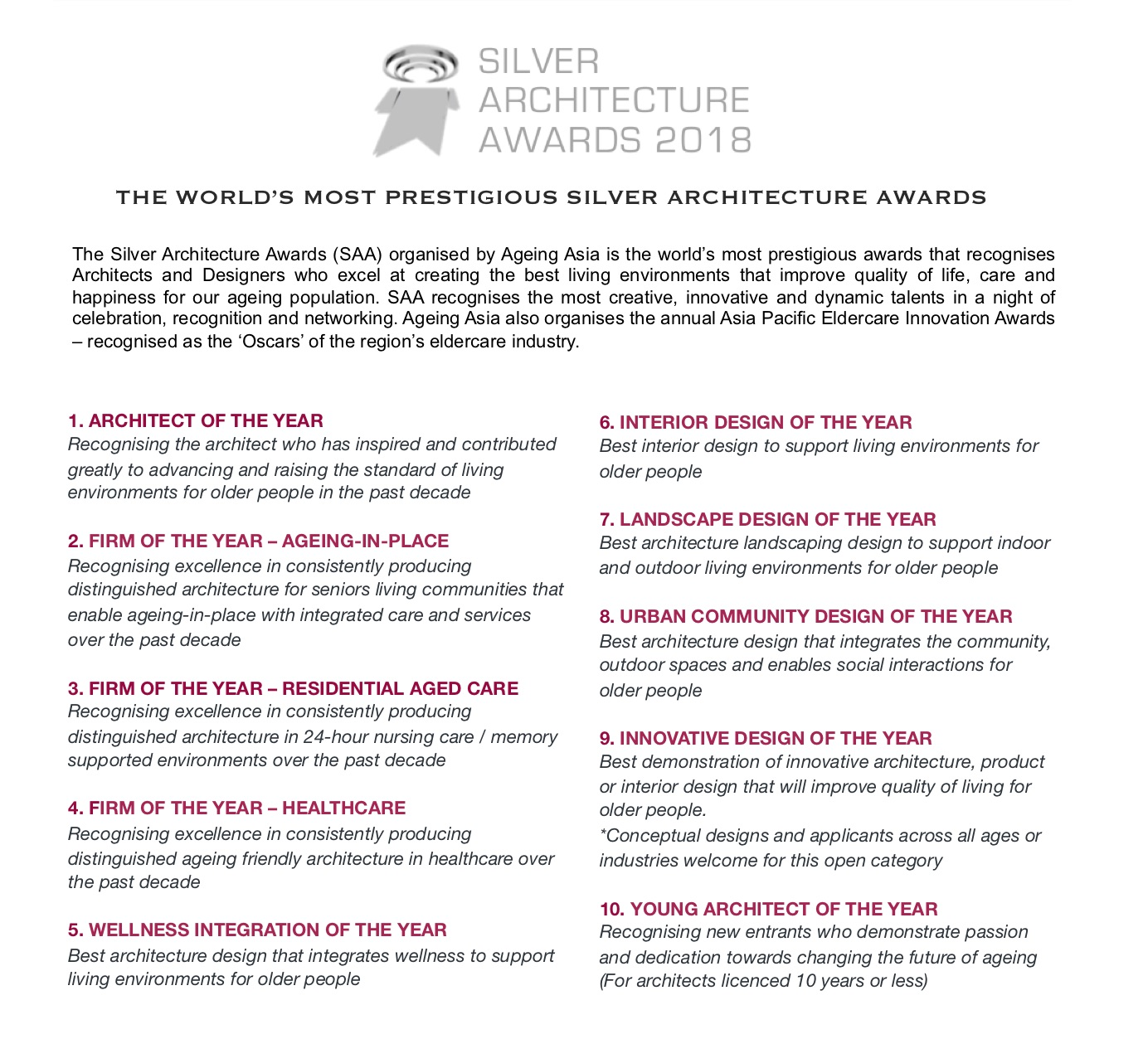 Silver architecture awards 2018 @ Hong Kong